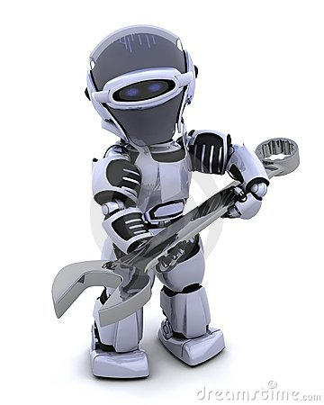 Free Robot With Spanner Royalty Free Stock Images - 16098779
