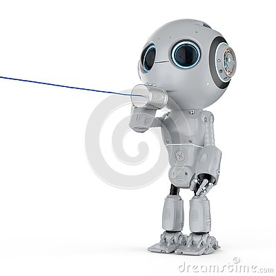 Free Robot With Tin Can Phone Stock Images - 130649264