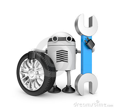 Free Robot Worker With Spanner Royalty Free Stock Photography - 19963137