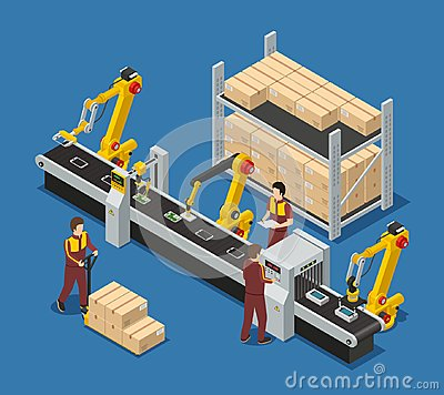 Free Robotic Conveyor Line Of Touchscreen Phones Stock Image - 99293311