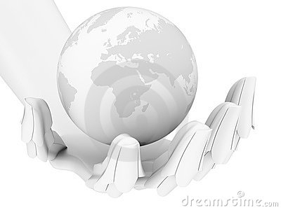 Robotic hand holding earth globe isolated on white