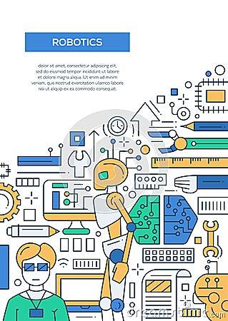 Robotics Line Design Brochure Poster Template A4 Cartoon Vector