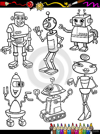 Robots Cartoon Set for coloring book