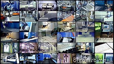 Robots de la producción que trabajan en una fábrica moderna La pantalla dividida, multiscreen el fondo almacen de video