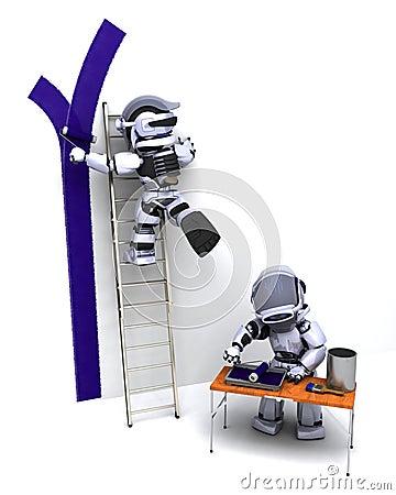 Robots decorating a wall