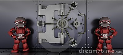 Robots guarding a bank vault