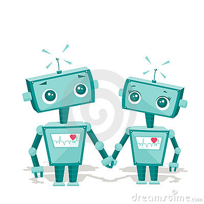 Free Robots In Love Royalty Free Stock Image - 17825636