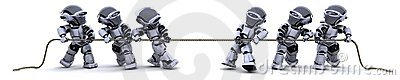 Robots pulling on a rope