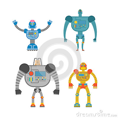 Free Robots Set . Space Invaders Cyborgs. Iron Colored Robots. Royalty Free Stock Image - 61177026