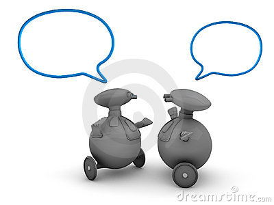 Robots with speech bubbles