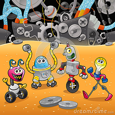 Free Robots With Background. Royalty Free Stock Photos - 26801798