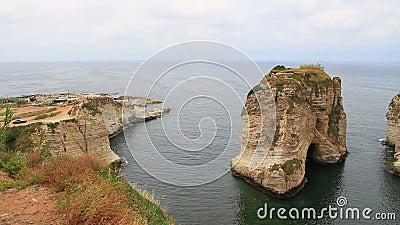 Roca de Raouche en Líbano almacen de video