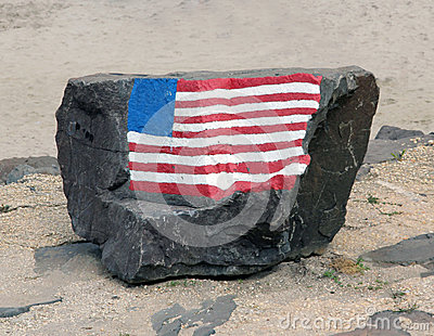 Rock with American Flag