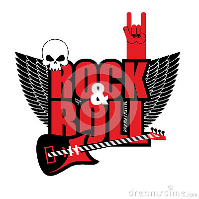 Free Rock And Roll Logo. Electric Guitar And Skull. Logo For Lovers O Stock Images - 60655674