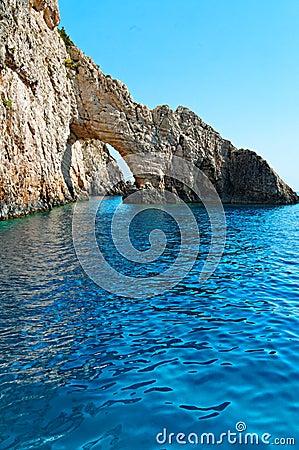 Rock arch on Zakynthos coastline
