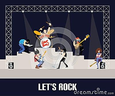 Rock band music group concert vector illustration Vector Illustration