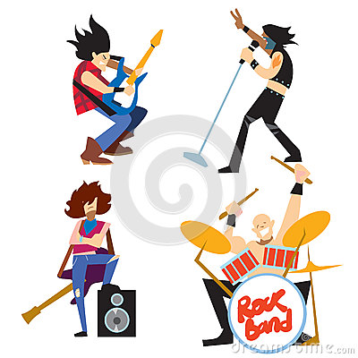 Rock band music group with musicians Vector Illustration