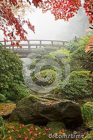 Rock and Bridge at Japanese Garden