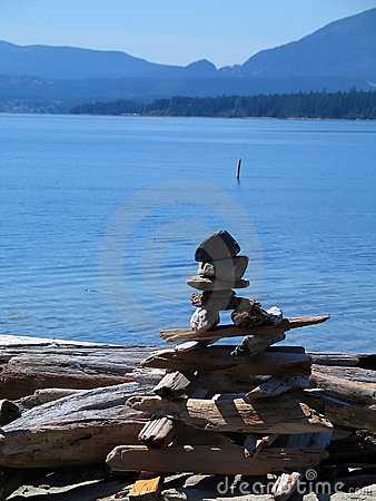 Rock cairn on shoreline