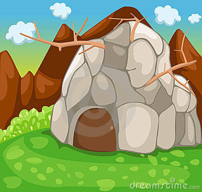 Rock cave in forest