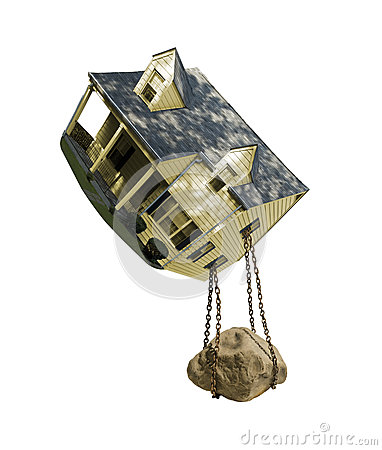 Rock chained to house foreclosure in midair