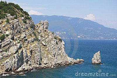 Rock and cliff in blue sea
