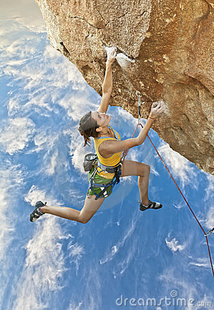 Free Rock Climber Dangling. Royalty Free Stock Photography - 23530147