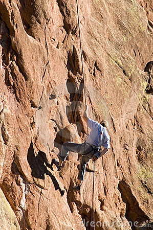 Free Rock Climber Rapelling Down Face Of Rock Formation Royalty Free Stock Photography - 1753817