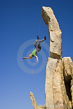 Free Rock Climber Rappelling. Royalty Free Stock Photo - 6371585