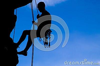 Rock climber silhouette