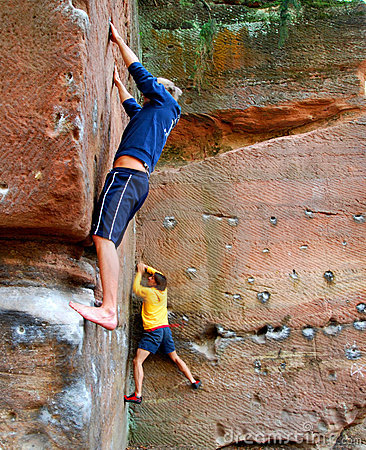 Rock Climbers on a Boulder