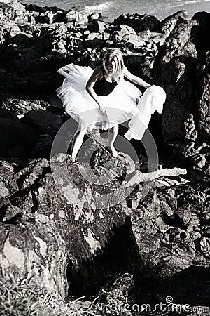 Rock climbing ballerina