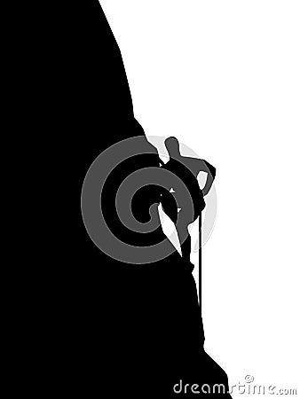 Rock climbing man vector silhouette