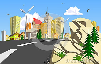 Rock and colorful abstract vector city