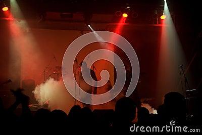 Rock concert, blurred unrecognizable musicians