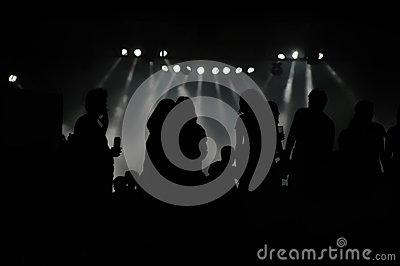 Rock concert crowd silhouettes