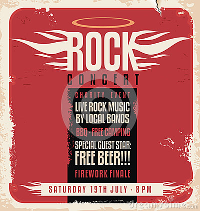 Rock concert retro poster design