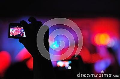 Rock concert seen trough a camera