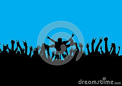Rock crowd surf