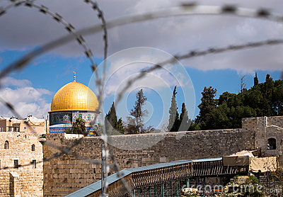 Rock Dome in Jerusalem behind wired fence