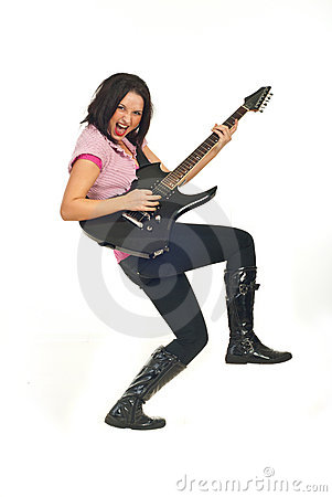 Rock female with guitar Stock Photo