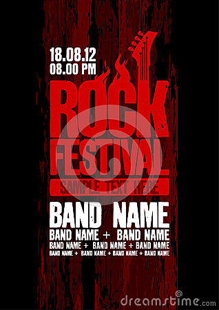 Free Rock Festival Design Template. Royalty Free Stock Photos - 25519978