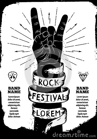 Free Rock Festival Poster. Rock And Roll Hand Sign Royalty Free Stock Photos - 71738908