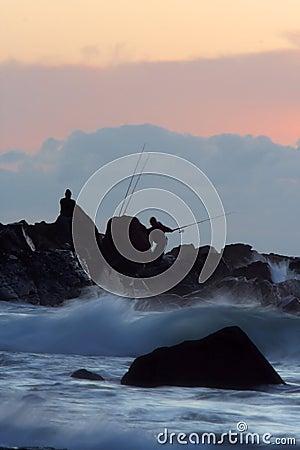 Rock fishing sunrise
