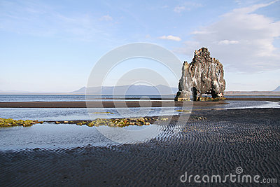 Rock formation on black beach