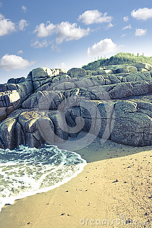 Rock formation on a coastal beach in county Donegal