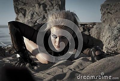 Rock girl crawls