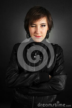 Rock girl in leather outfit