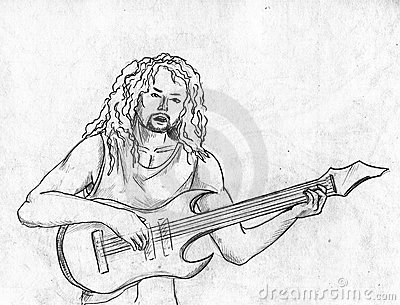 Rock guitarist -pencil sketch
