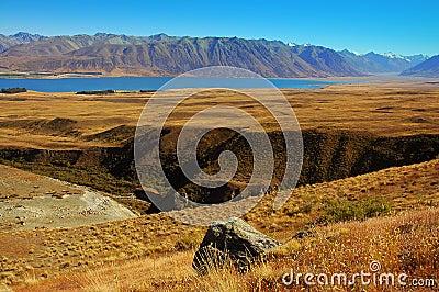 Rock and gully at Lake Tekapo